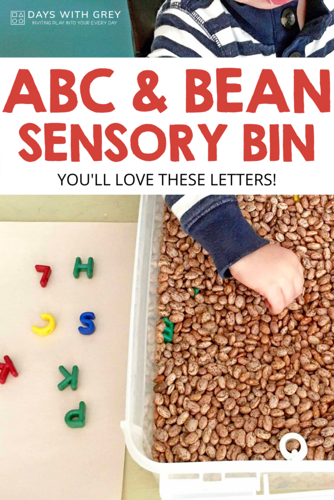 bean sensory play with letters