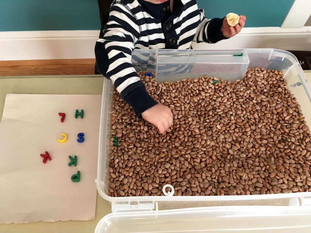 Bean sensory table