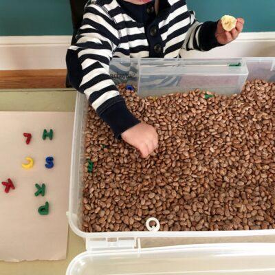 Bean sensory table