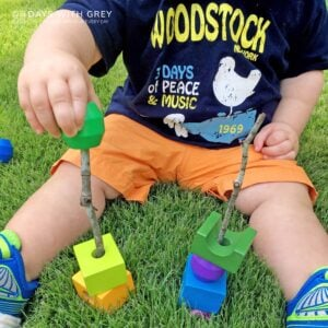 Nature Block Stack; a Toddler Fine Motor Activity
