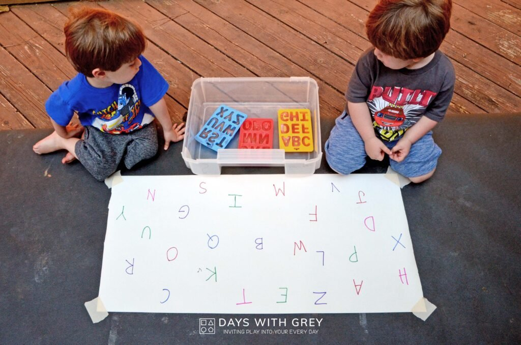 Alphabet ice tray activity
