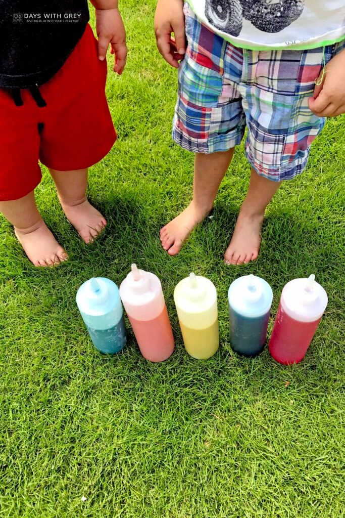 outdoor messy painting idea