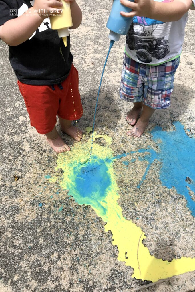 messy outdoor painting for kids
