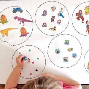 Which Does Not Belong? A Preschool Sticker Activity