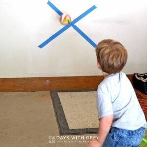 Garage Ball Toss; a Rainy Day Activity for Kids