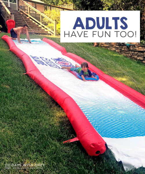 kids on a water slide