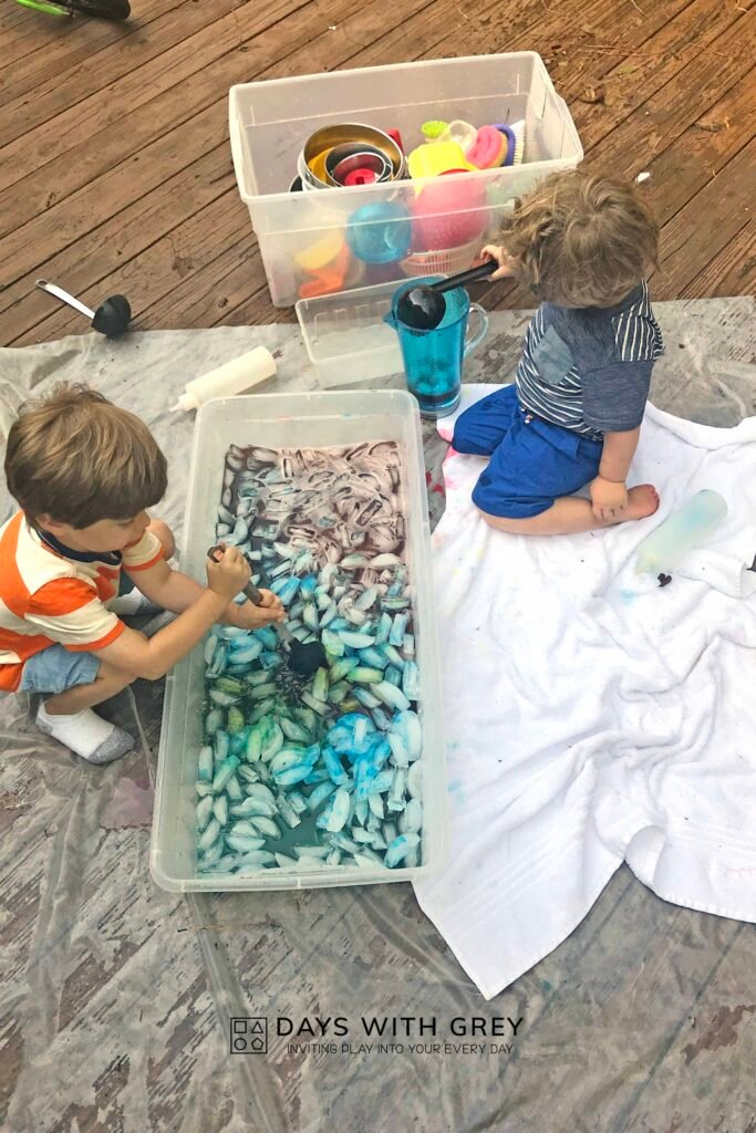 sensory painting activity for kids