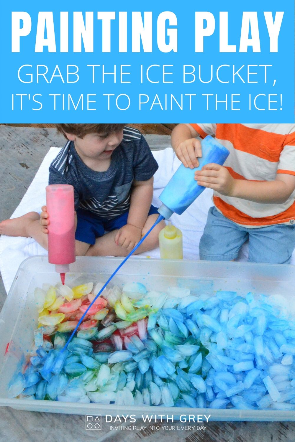 Children painting ice with squirt bottles