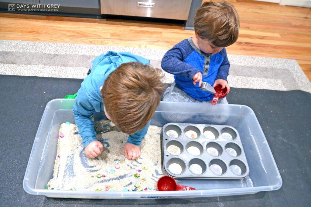 preschool sand sensory bin