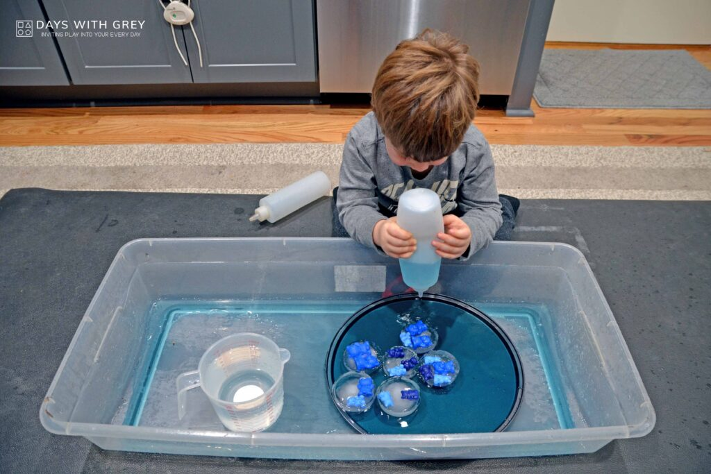 Ice sensory play