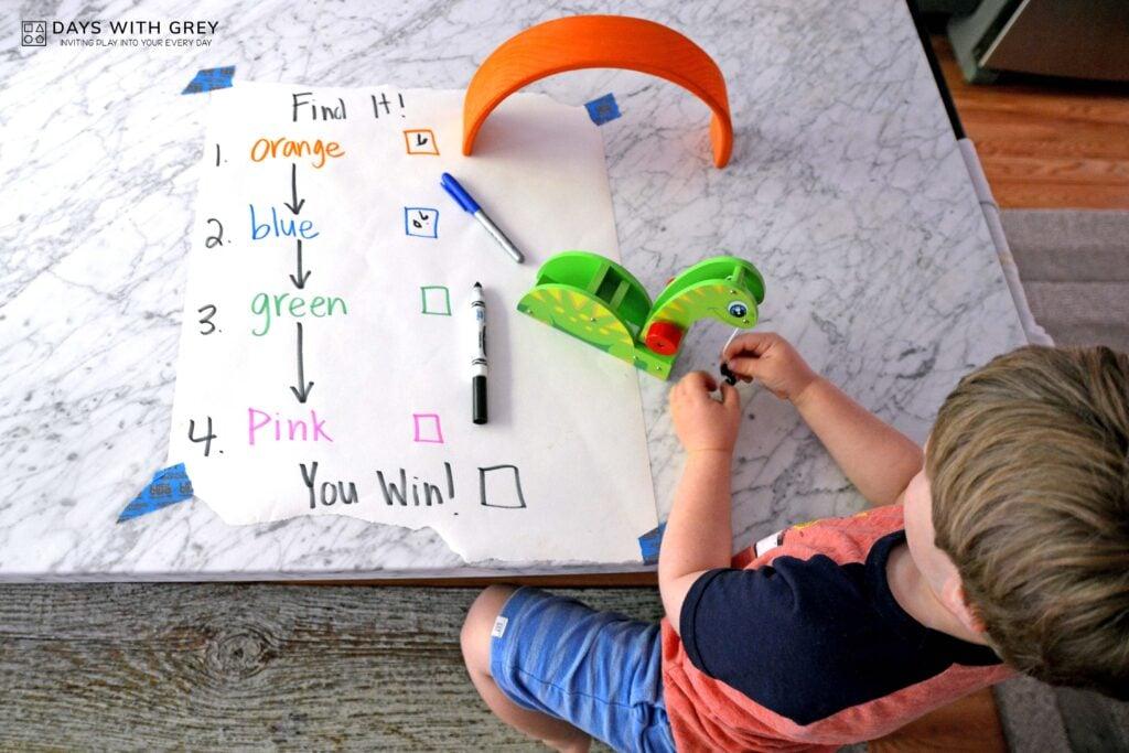 color words movement activity