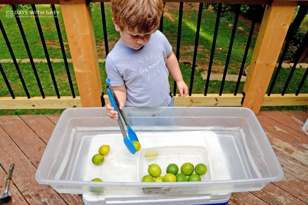 water sensory bin