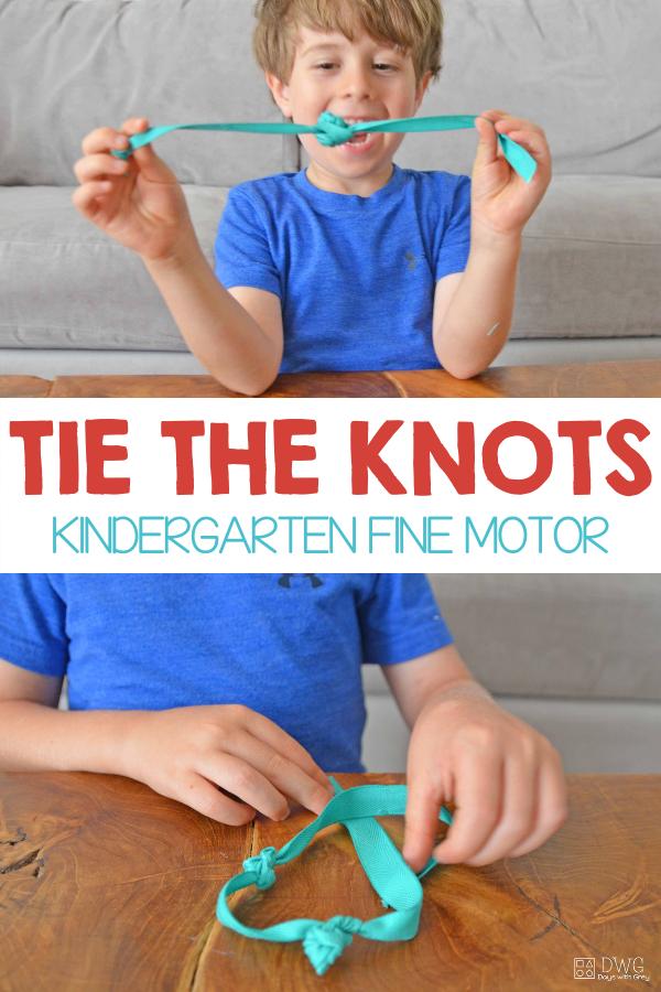 Kindergarten knot tying practice
