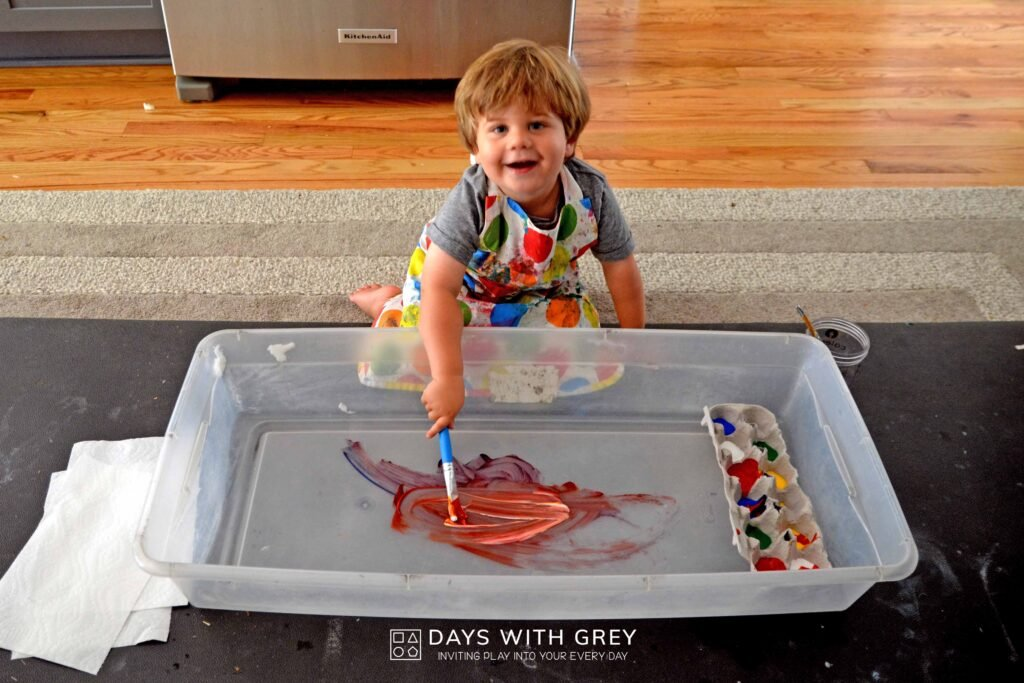 Painting with a two-year-old