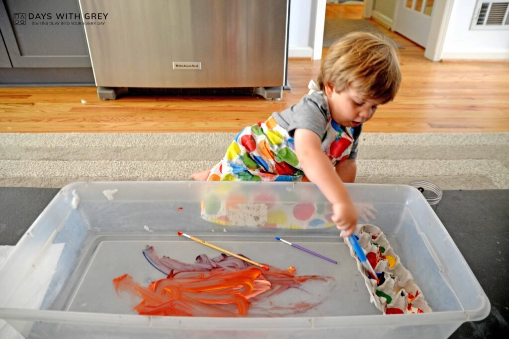 Toddler painting and art supplies