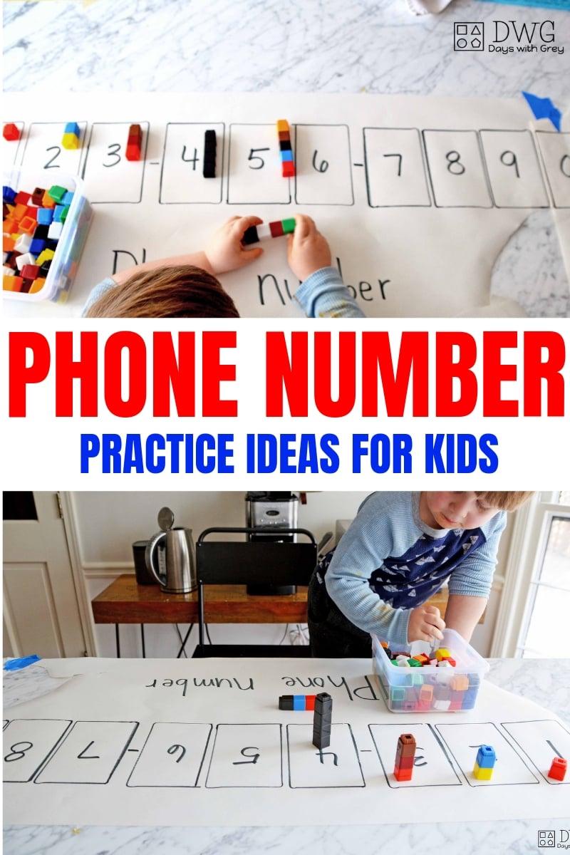 Phone number activites for kids, preschool phone number game, kindergarten readiness, .jpg