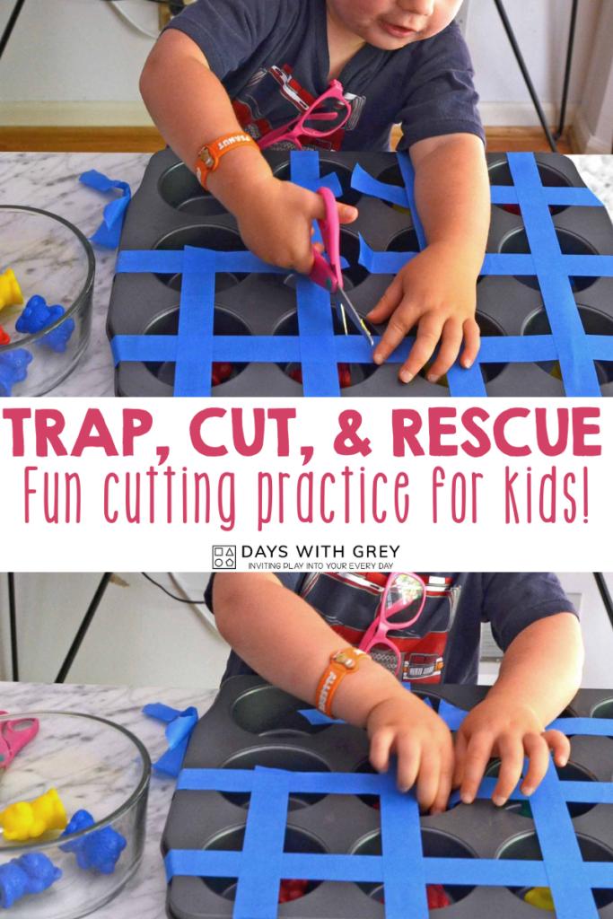 trap, cut, and rescue activity for preschool
