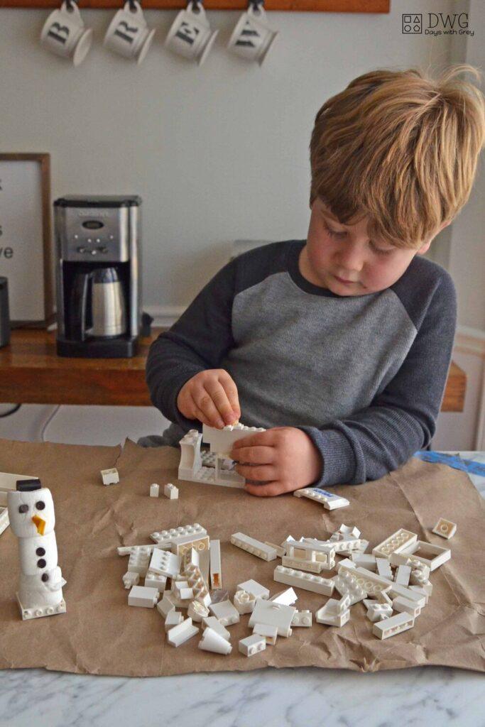 Build a snowman home with Legos