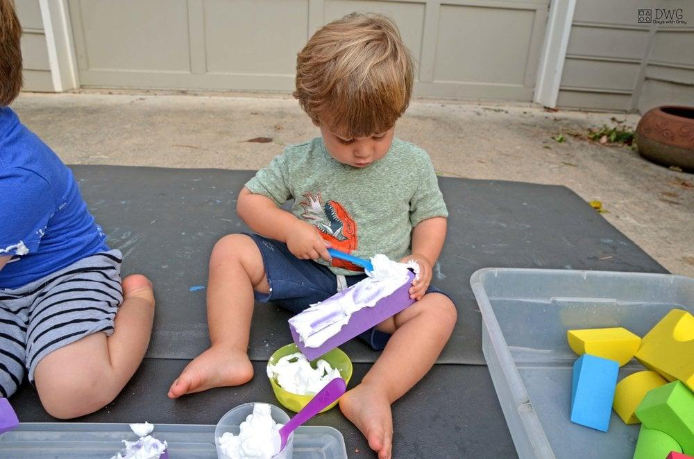 shaving cream messy sensory play