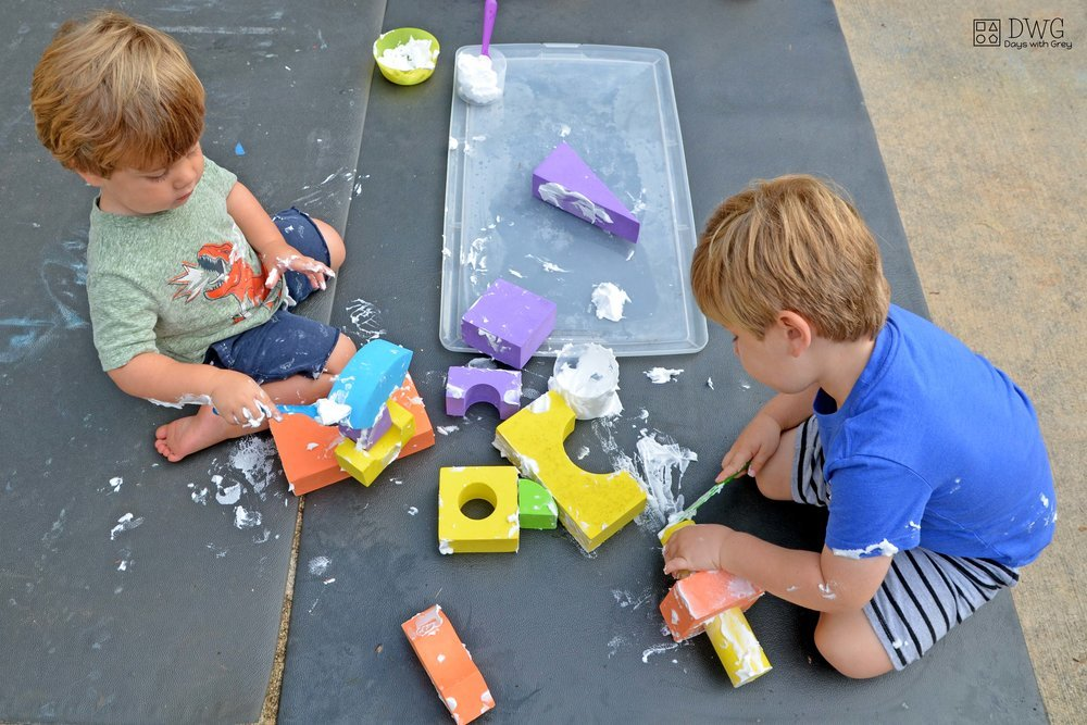 shaving cream messy sensory play