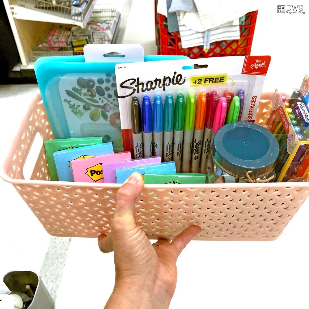 basket of teacher school supplies