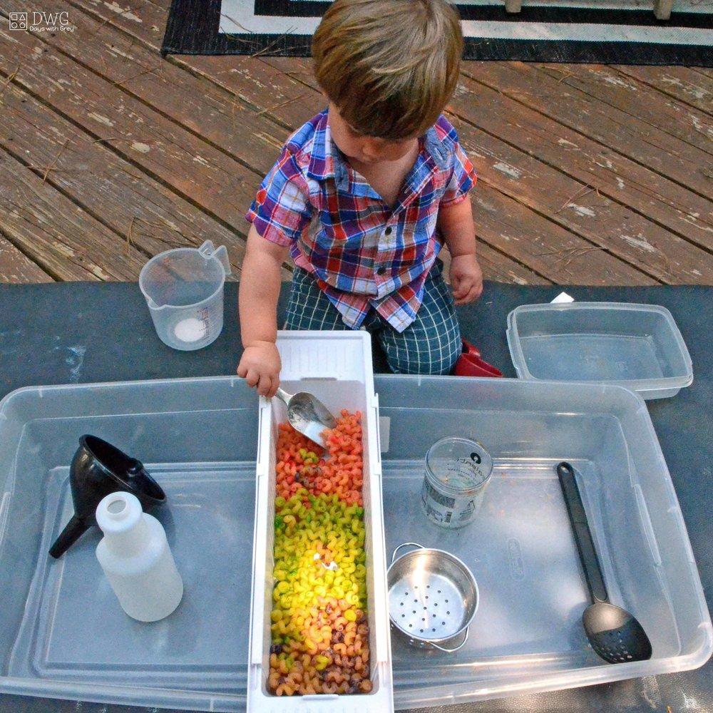 noodle sensory play