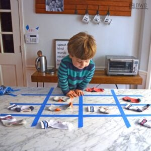 A Toddler Matching Game with Socks