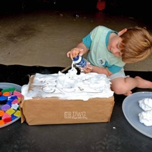 Shaving Cream Sensory Play to Decorate the Cake