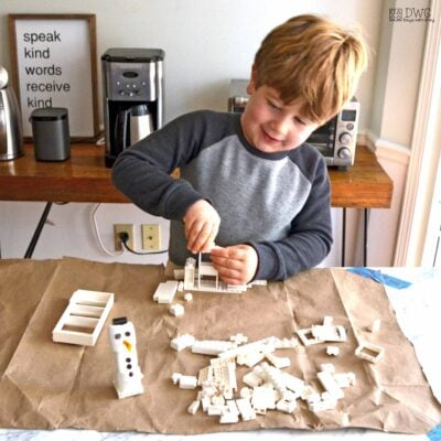 Build a snowman house; easy indoor activity