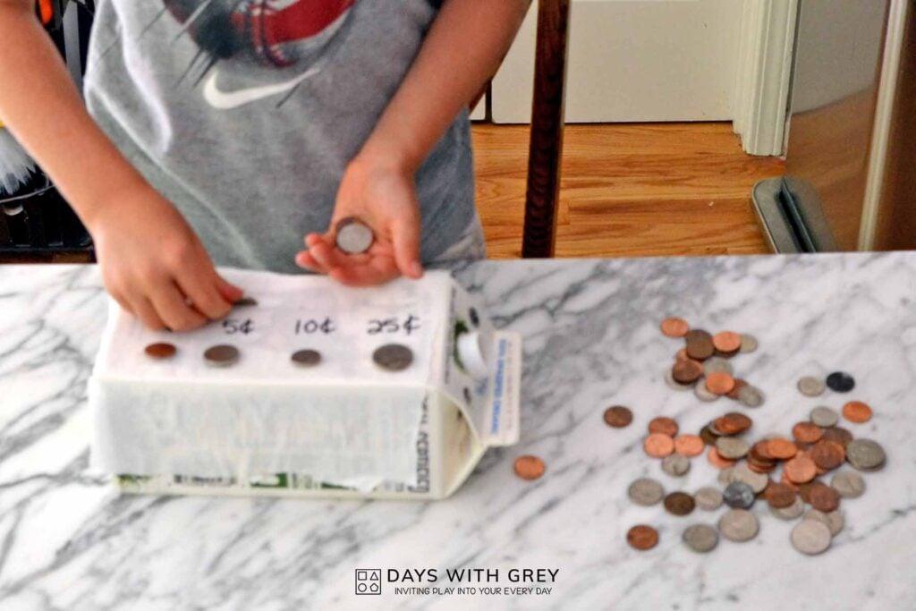 cardboard box coin bank