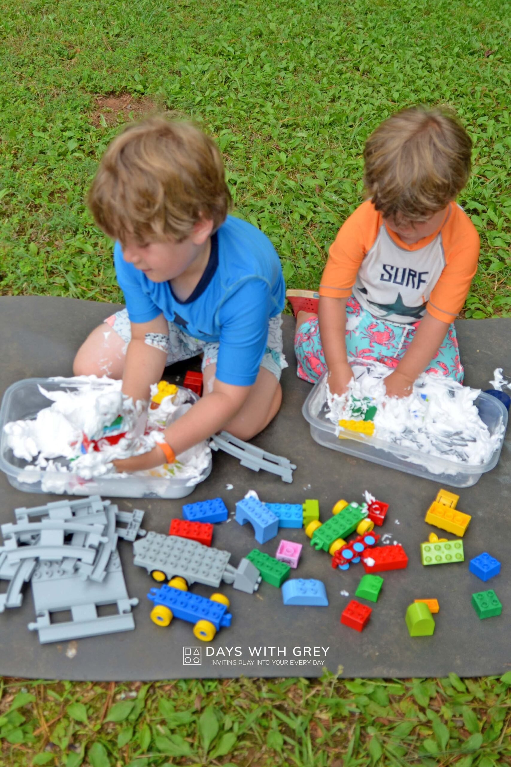 shaving cream and LEGOS messy play