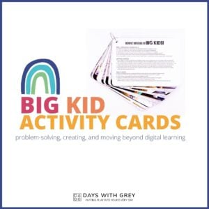 BIG KID Cards: Activities to Do with Kids at Home