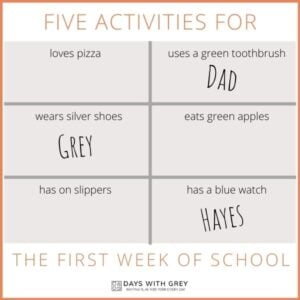 5 Activities for the First Week of School