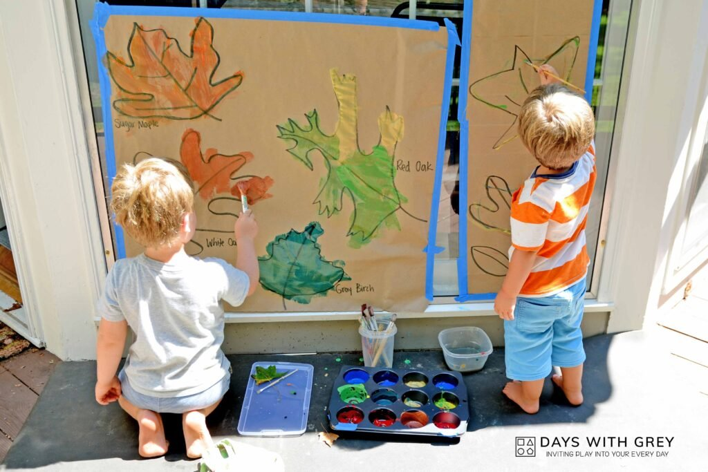 fall leaf painting for kids