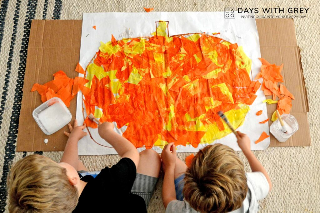 tissue paper pumpkin art