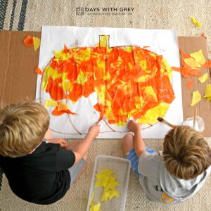 Tissue Paper Pumpkin Art