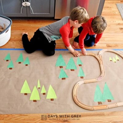 Wooden train tracks imaginary play