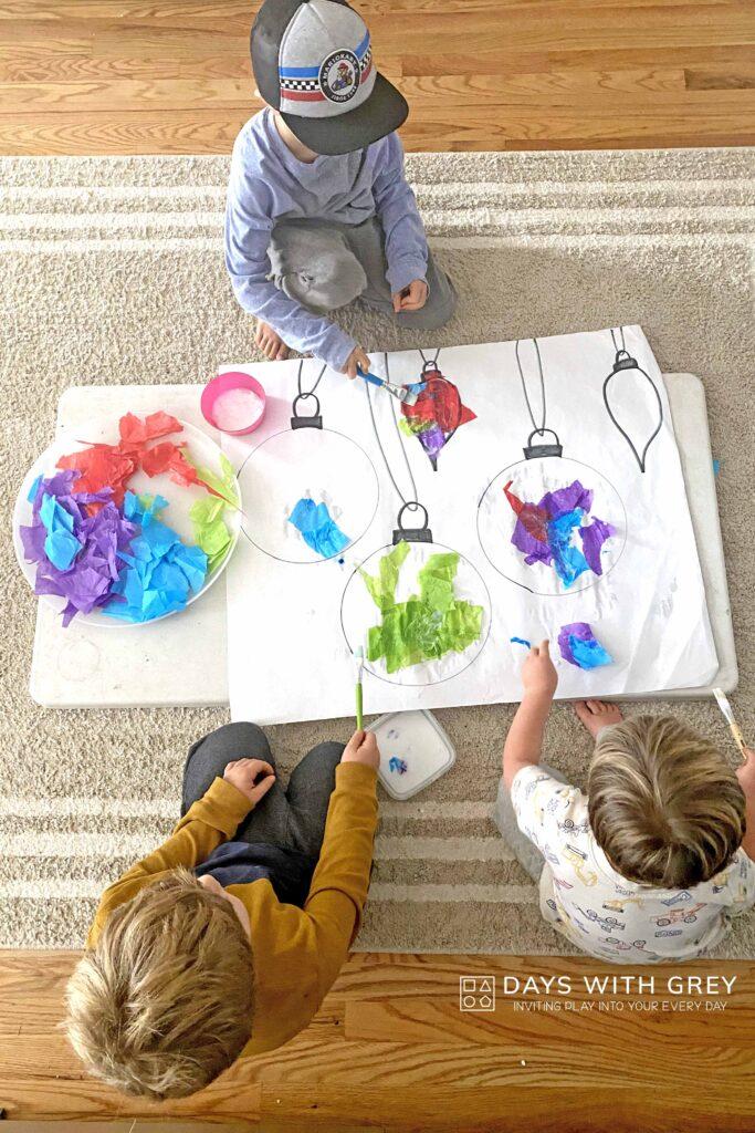 kids working on easy Christmas art