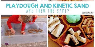 kinetic sand and playdough