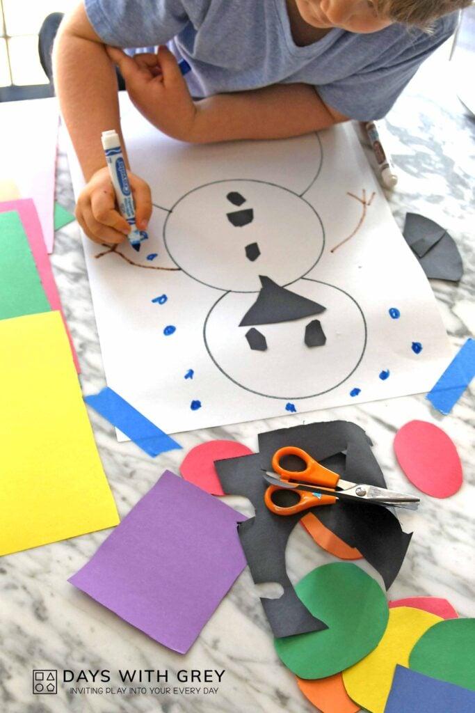 simple paper snowman art for kids