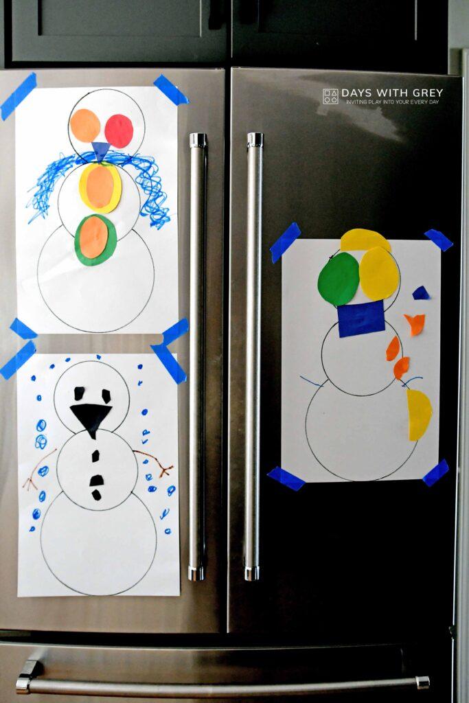 simple paper snowman art idea