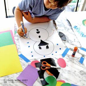 Cut and Glue Snowman Art