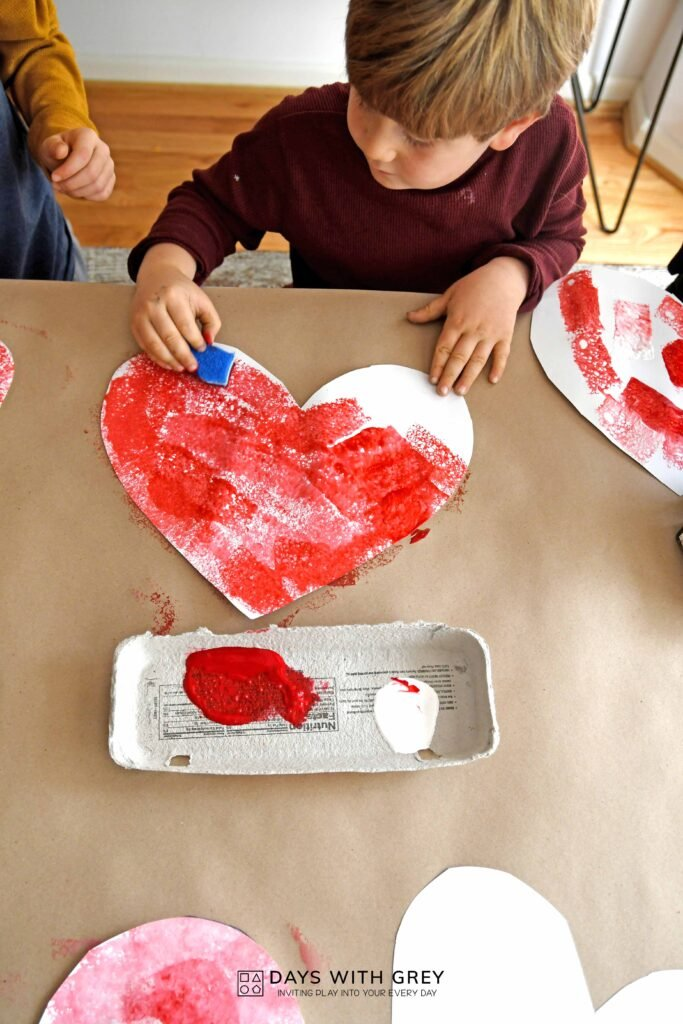 Valentine painting activity for kids