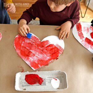 Sponge Painting Valentine Hearts