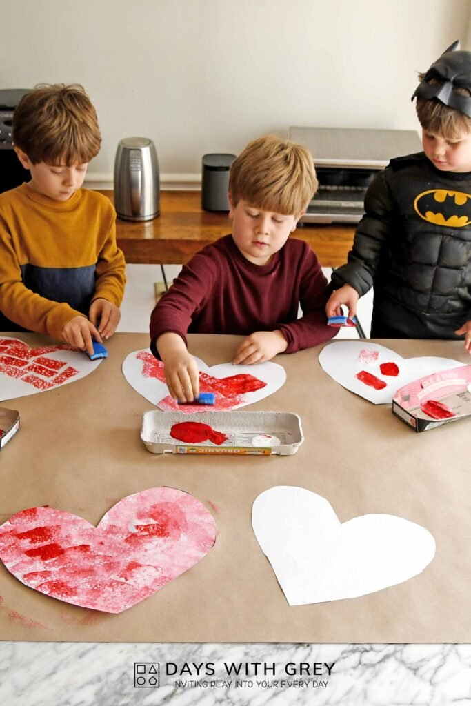 Valentine painting idea for kids