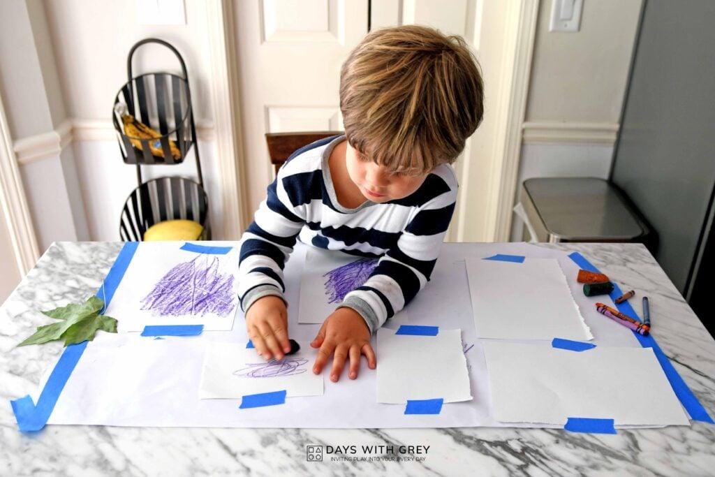 art leaf rubbings for kids