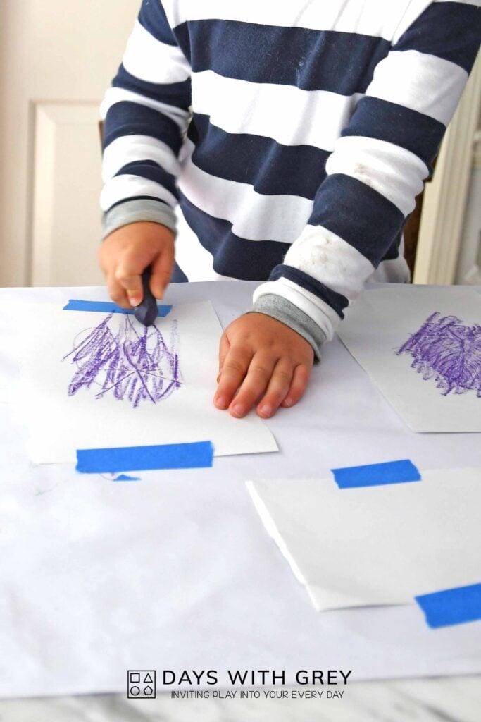 art leaf rubbing for kids