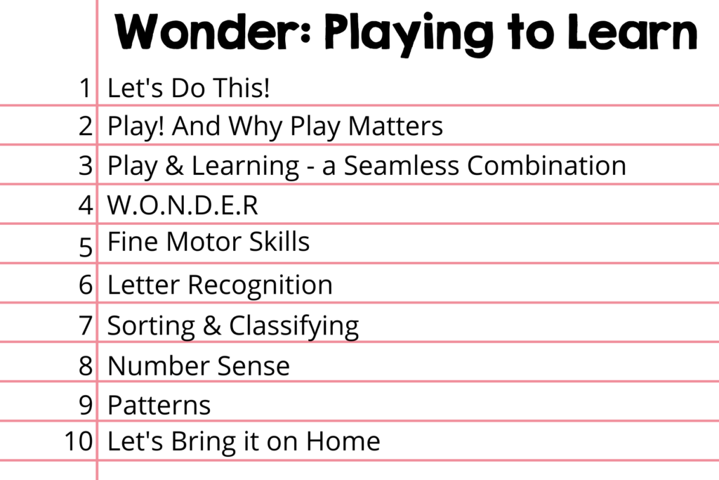 List of lessons for playing to learn for preschoolers online course
