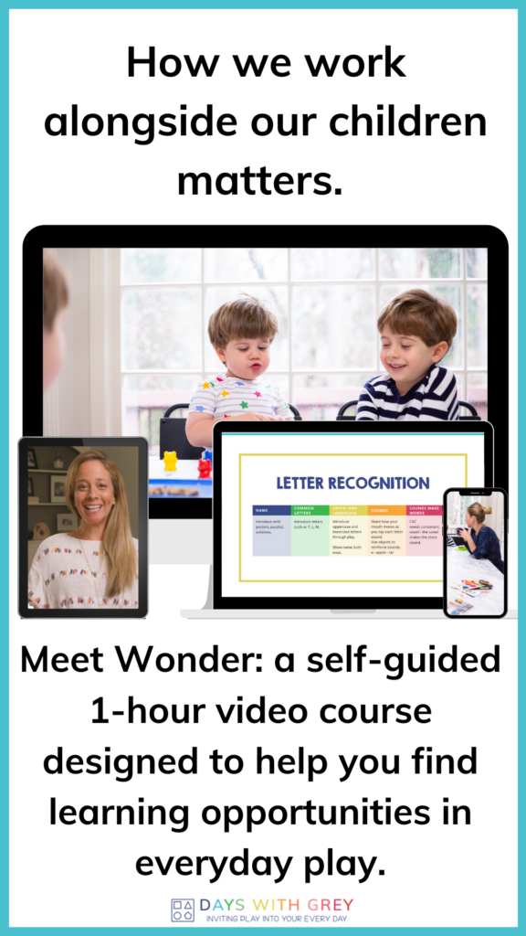 Online video course for parents of toddlers and preschoolers to learn more about play based learning