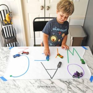 Writing Letters with Race Cars